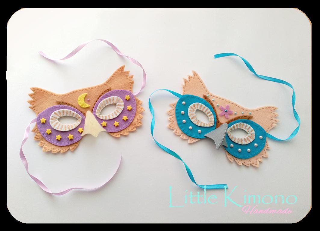 Máscaras de Carnaval - Buhos - Little Kimono Handmade ❣
