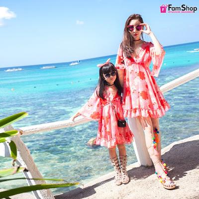 Váy maxi mẹ và bé gái M453