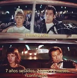 John Travolta y Olivia Newton en el coche