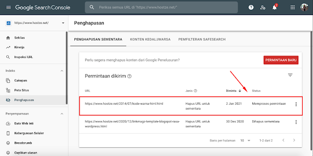 Deskripsi Proses di Google Search Console - hostze.net