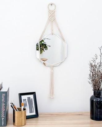 Hanging Macrame Wall Mirror