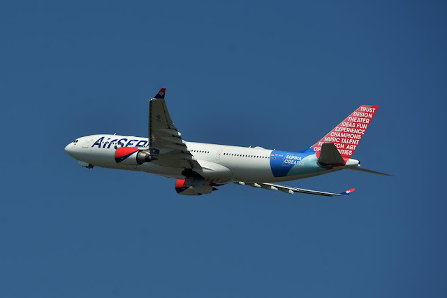 Air Serbia A330 aircraft in flight