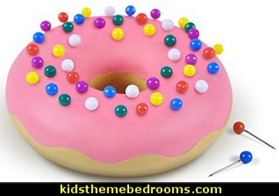Desk Donut Push Pin Holder    office cubicle decorating ideas - cubicle decorating - work desk decorations - cubicle decoration themes - cubicle decor - office birthday party cubicle decorations - office birthday decorating kit - glitter office supplies - desktop organizers - Christmas office decorations -