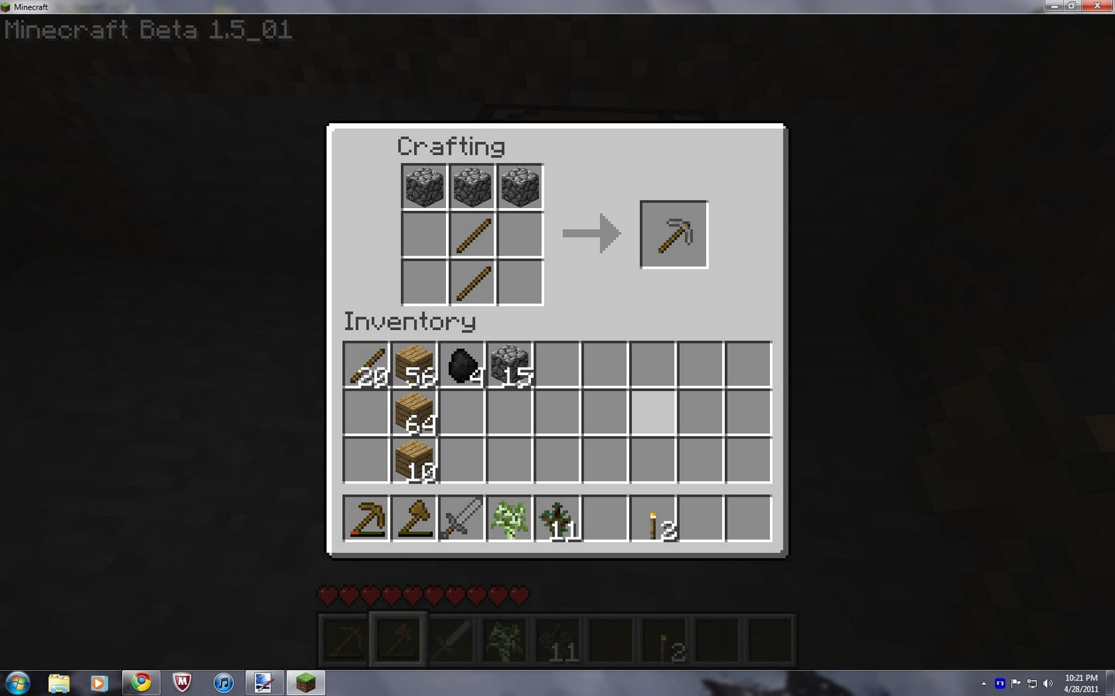 Crafting A Steel Pick Minecraft