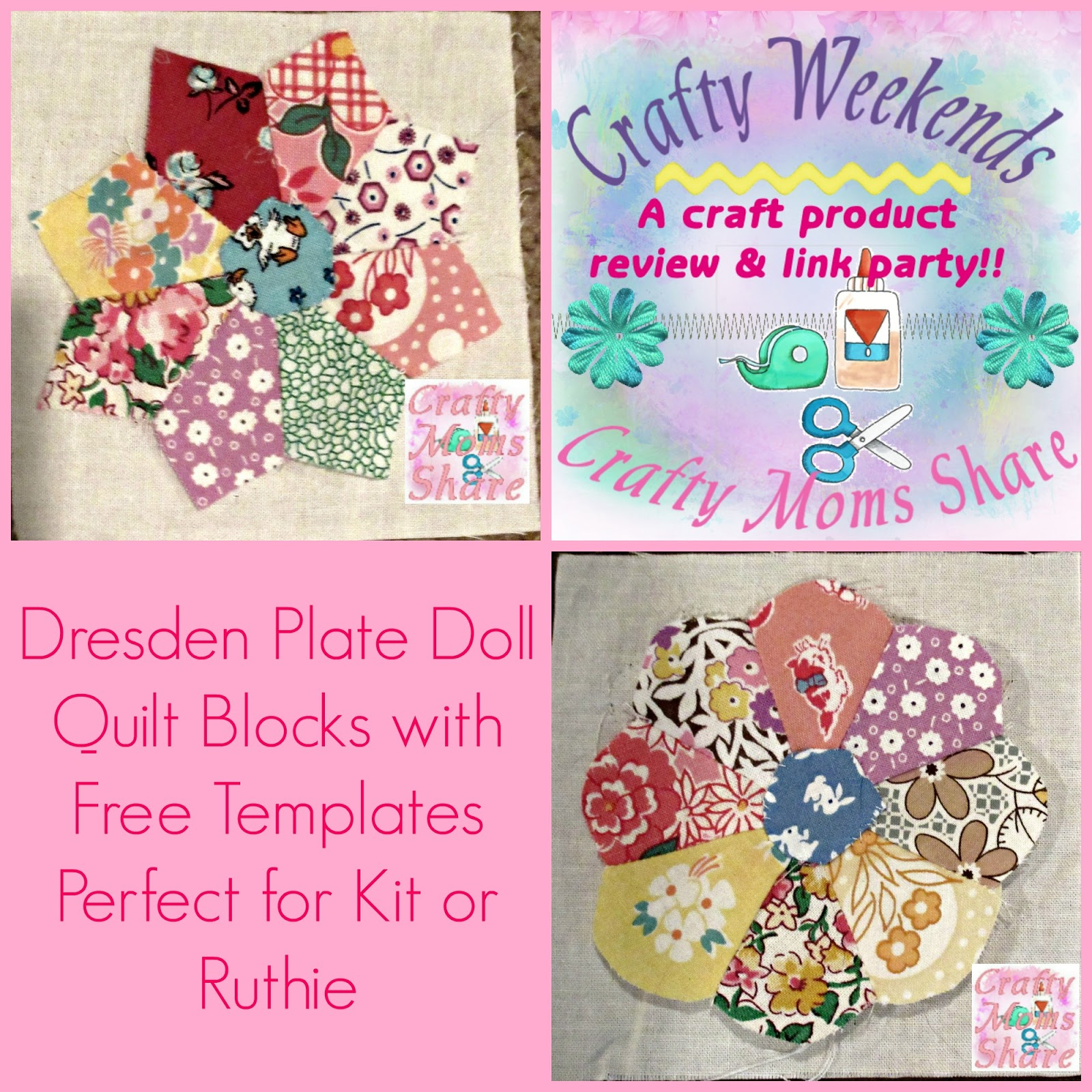 Crafty Moms Share 1930s Dresden Plate Doll Quilt Blocks With Free