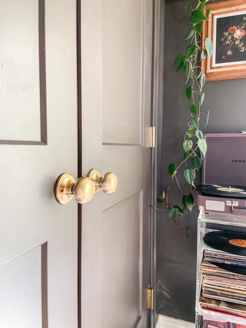 gold painted door handles