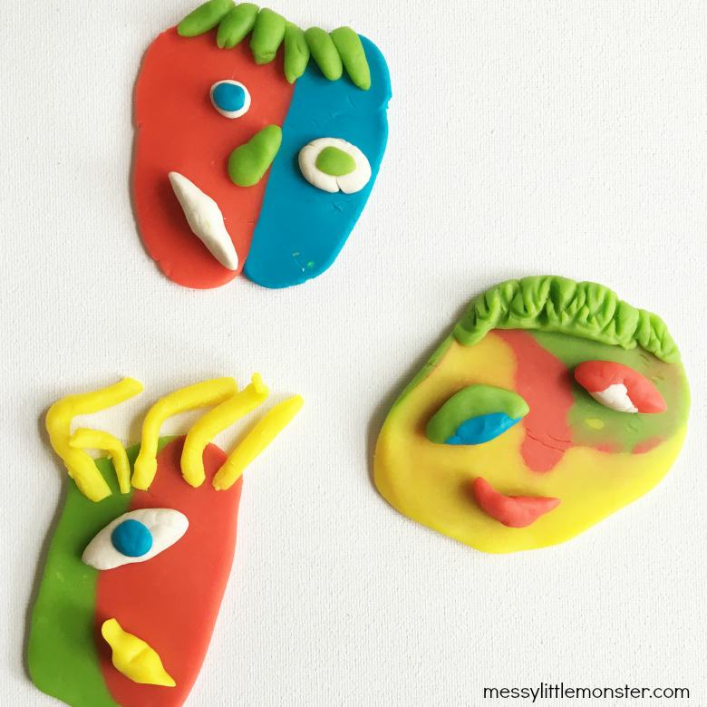 Picasso art for kids - playdough faces
