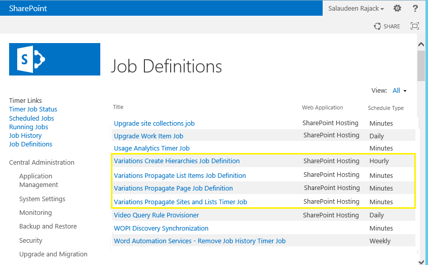 SharePoint 2013 Variation Timer Jobs
