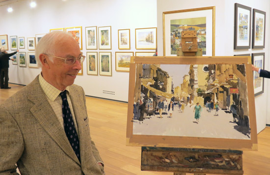 John Yardley RI with his demonstration painting