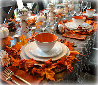 fall orange and white tablescape