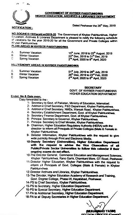 NOTIFICATION REGARDING VACATIONS FOR COLLEGES IN KHYBER PAKHTUNKHWA