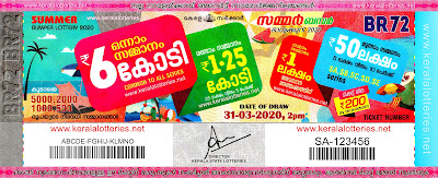 Kerala Lottery Results 31-03-2020 Summer Bumper BR-72 Lottery Result