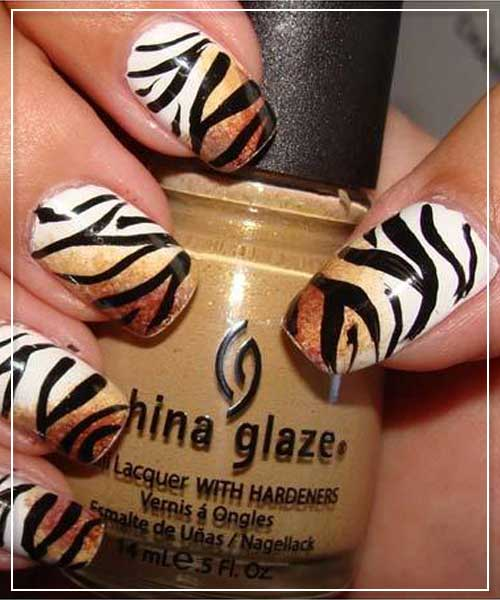 Tiger Prints Nail Art Design