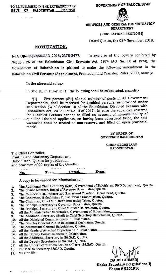NOTIFICATION REGARDING RESERVATION OF FIVE PERCENT (5%) QUOTA FOR DISABLED PERSONS IN ALL GOVERNMENT DEPARTMENS