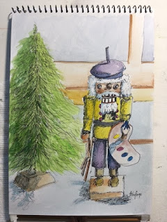 artist nutcracker, small painted drawing, Kath Schifano