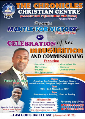 The Chronicles Christian Centre Prepares For 'Mantle of Victory'