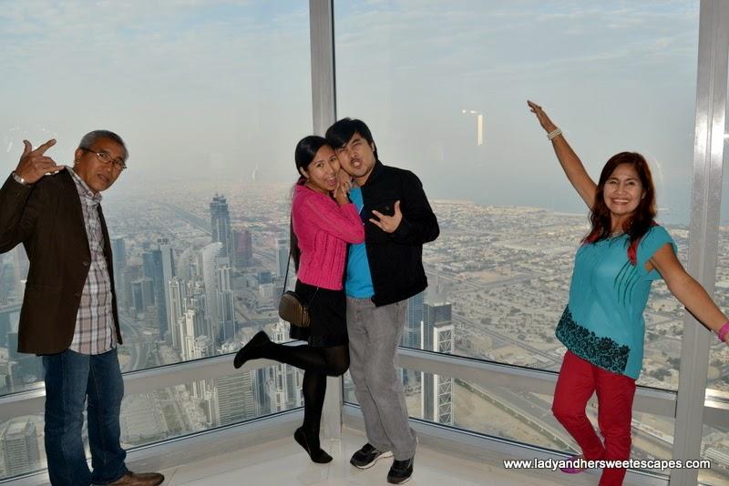 family at Burj Khalifa observation terrace