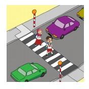 Garis hitam dan putih sebagai tempat menyeberang jalan. www.simplenews.me