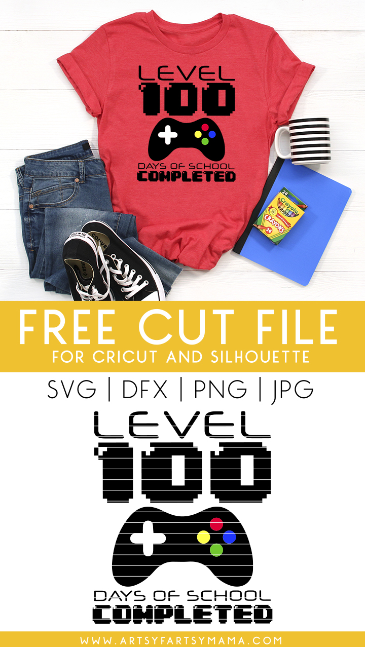 Level 100 Days of School Shirt with Free Cut File