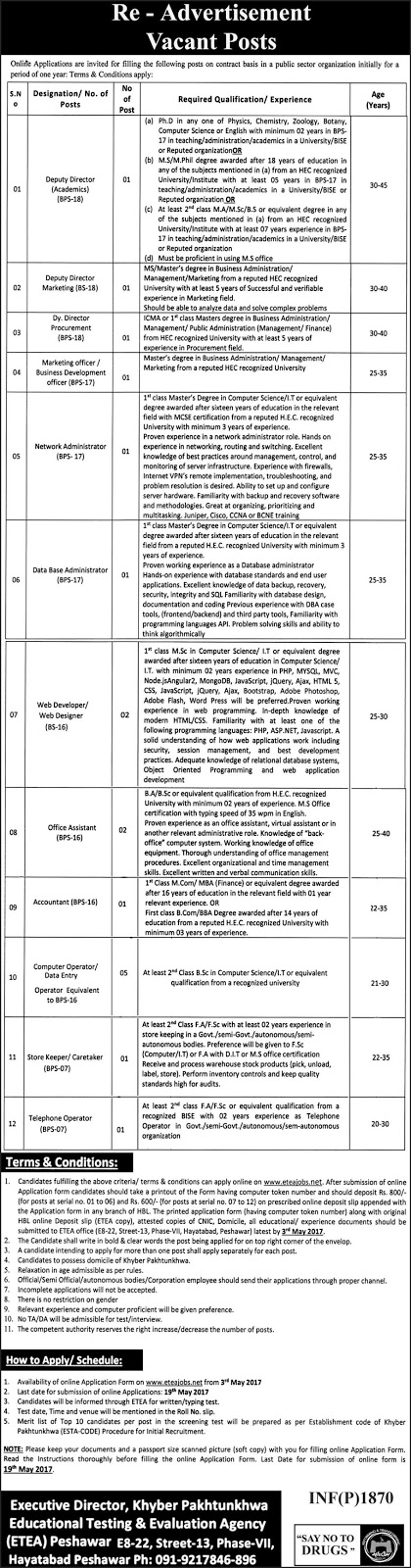 Jobs In  Public Sector Organization Peshawar KPK 24 Apr 2017