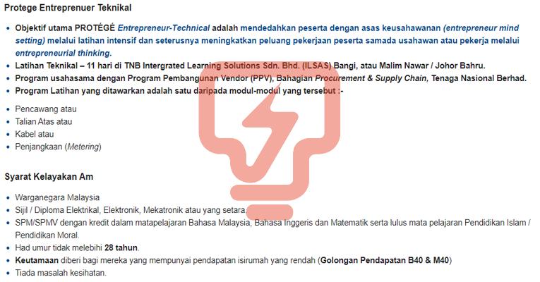 Program Latihan Protege Entreprenuer Teknikal TNB