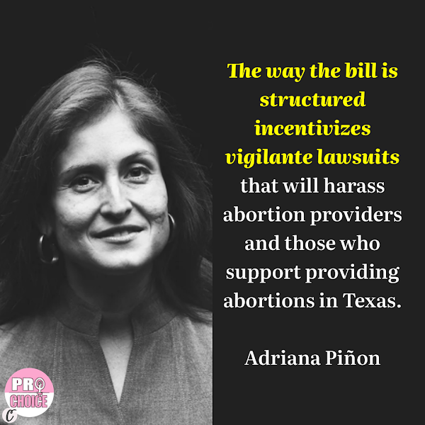 The way the bill is structured incentivizes vigilante lawsuits that will harass abortion providers and those who support providing abortions in Texas. — Adriana Piñon, an attorney at the Texas chapter of ACLU