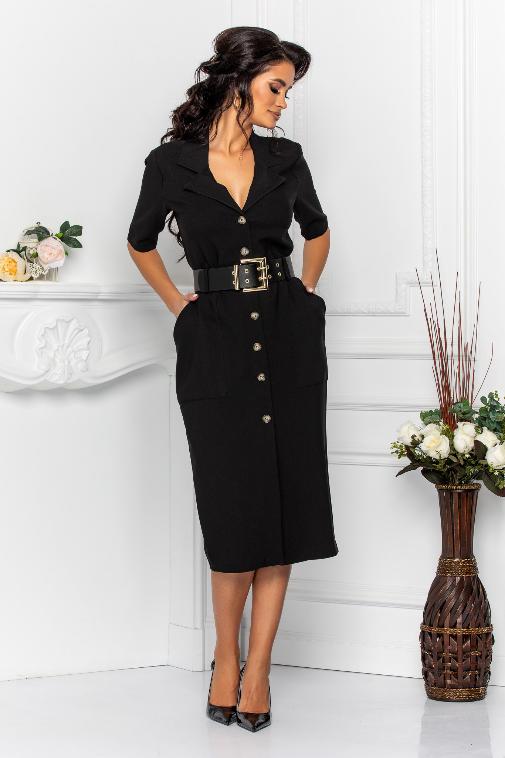 Rochie eleganta de zi tip office cu buzunare supradimensionate