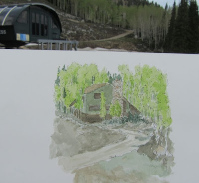pen watercolor sketch mountain house aspen tree