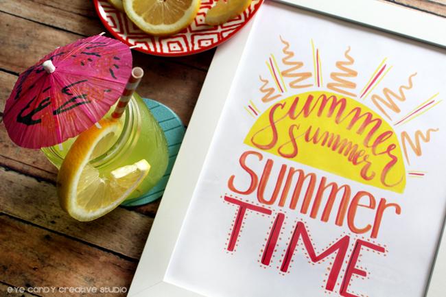marker lettering, summer art print, tombowpro, summer sun, hand lettered