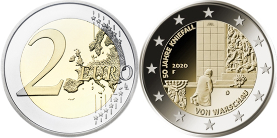 Germany 2 euro 2020 - 50 years of the Warsaw genuflection