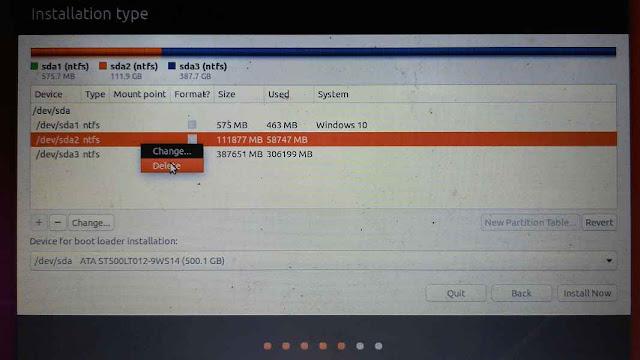 Melakukan partisi manual saat install ubuntu