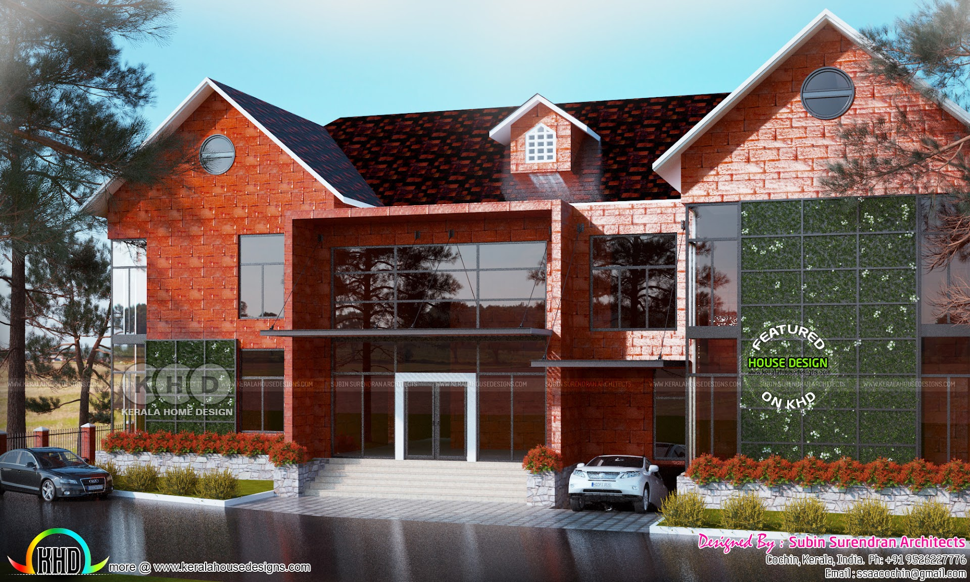 Luxury sloping roof 5 bedroom home Kerala home design and floor plans