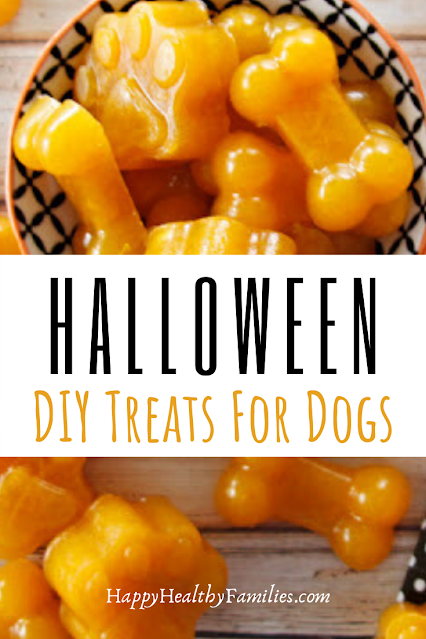 Homemade orange gummy treats for dogs to make this Halloween
