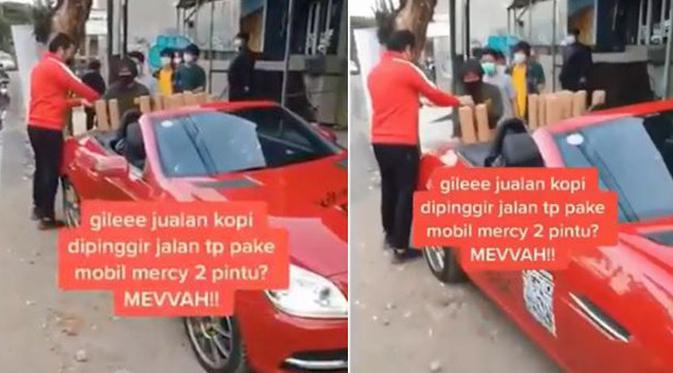 Viral Pria Jual Kopi Pakai Mobil Mercy, Warganet: Yang Beli Pakai Motor