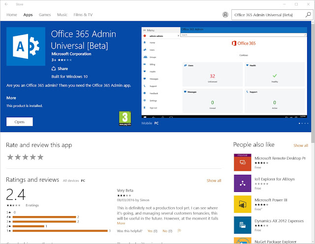 Alternatively once installed search for office 365 in your