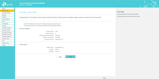 Klik finish untuk menyimpan konfigurasi WISP