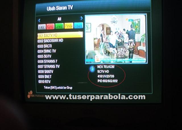 Frekuensi SCTV INDOSIAR  di NEX TELKOM