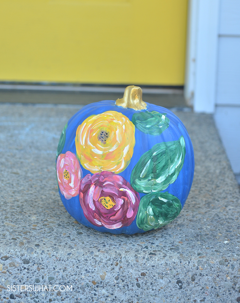 how to paint abstract flowers on pumpkins