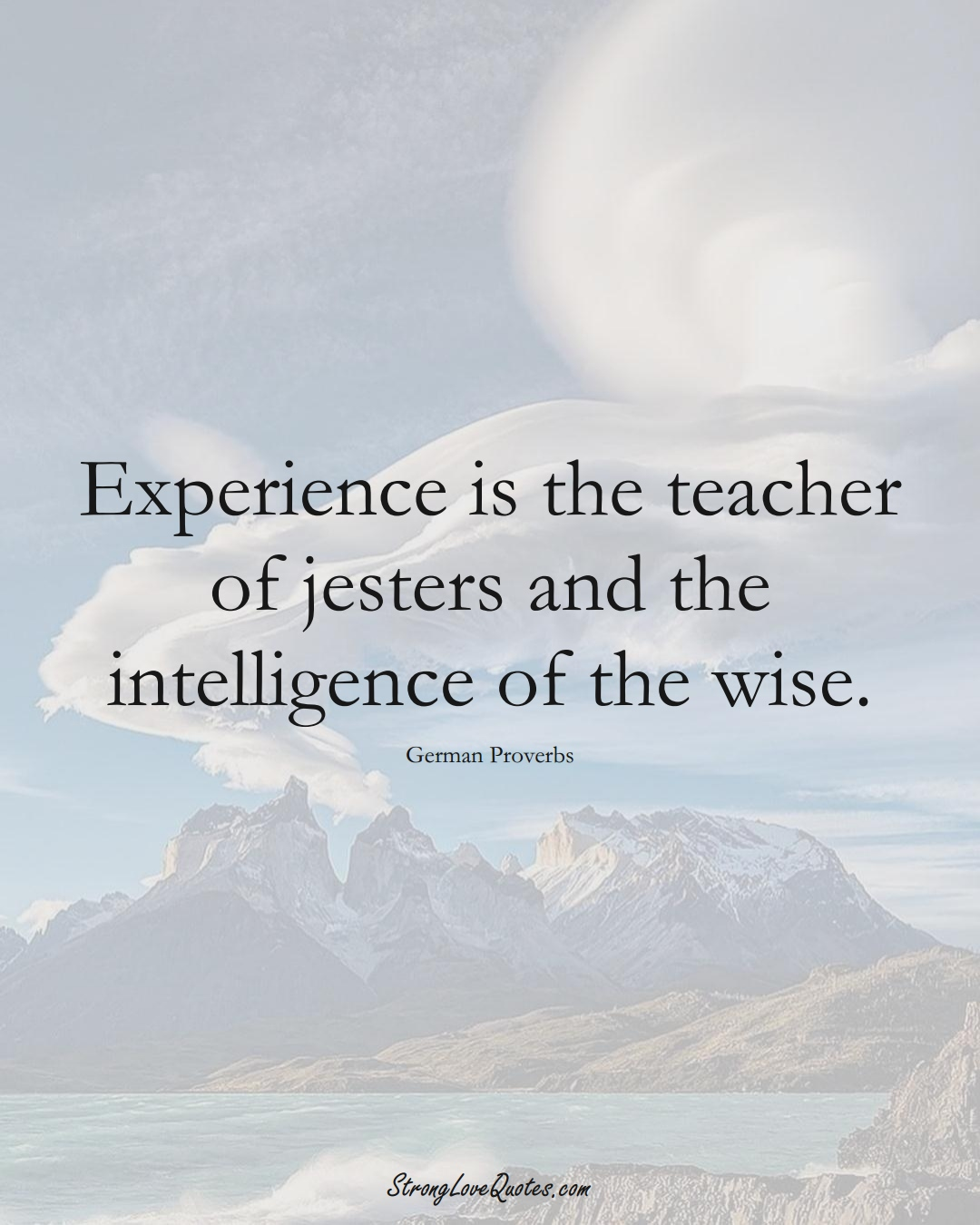 Experience is the teacher of jesters and the intelligence of the wise. (German Sayings);  #EuropeanSayings
