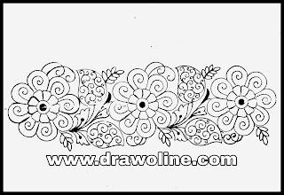 How to draw an easy hand embroidery saree border design; saree border design drawings! Border design paper