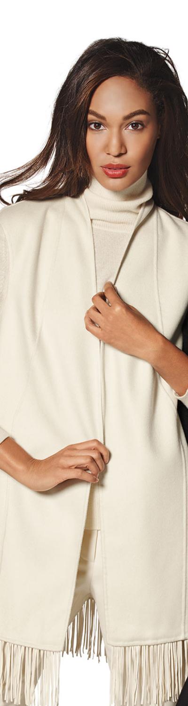 Neiman Marcus Cashmere Collection Cashmere Fringe-Trim Vest