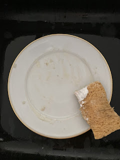 Assiette sale avant lavage avec le cake lave-vaisselle à la lavande