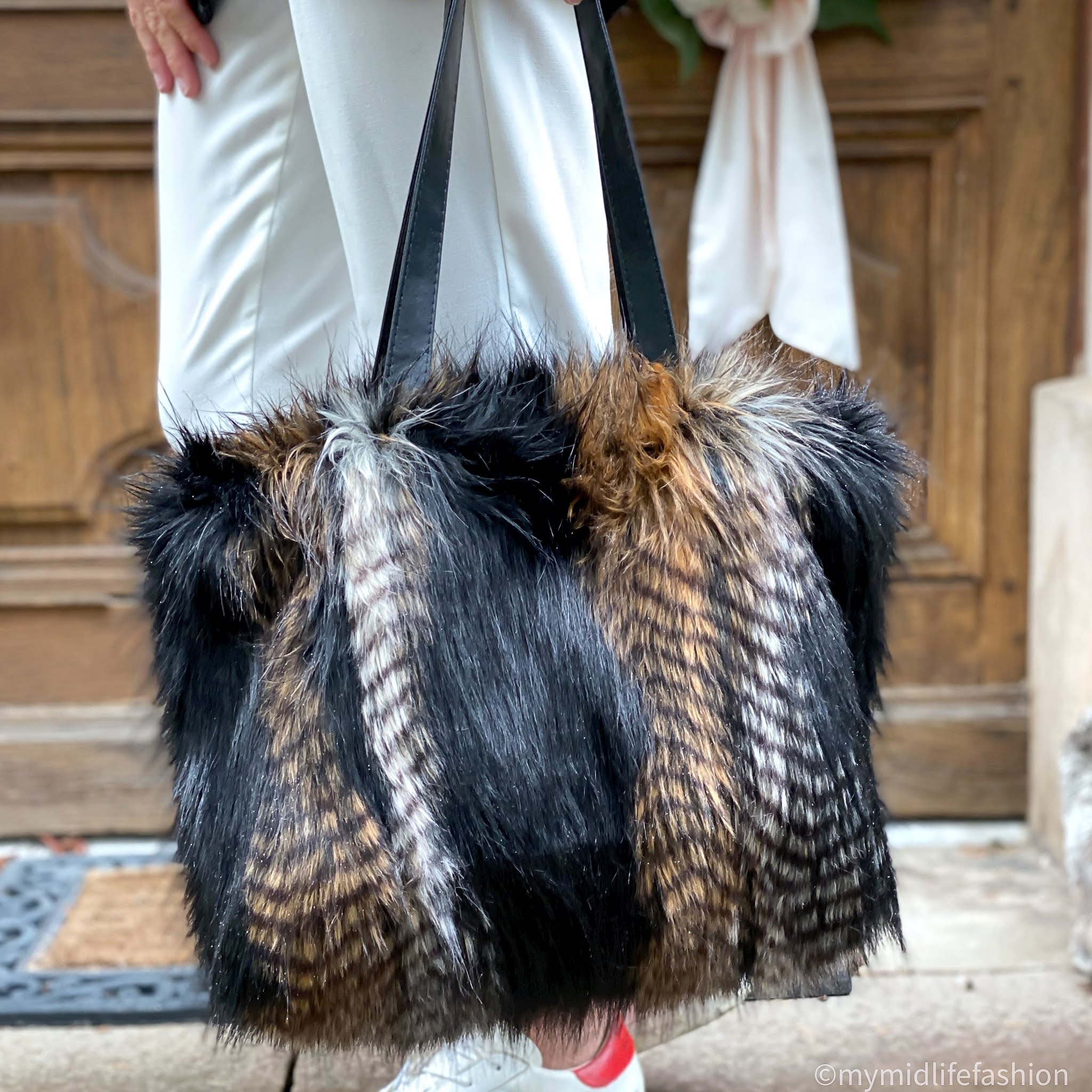 my midlife fashion, Helen Moore faux fur kersey bag in brown quail