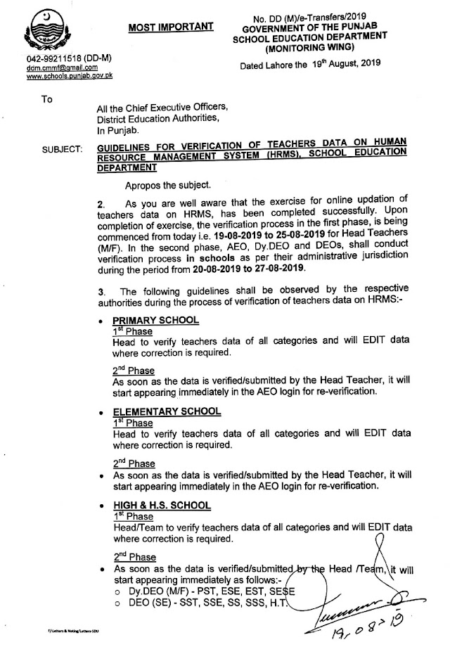 GUIDELINES FOR VERIFICATION OF TEACHERS DATA ON HRMS