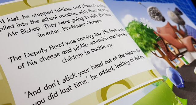 Hannah The Spanner children's storybook review text example inside double page spread