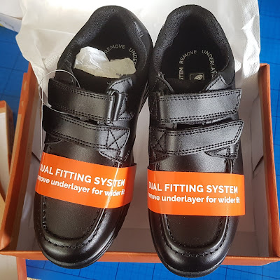 Standard new black 'velcro' fastening school shoes in box