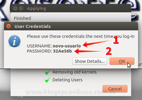 Será exibido o usuário e sua respectiva senha que você deverá utilizar para fazer login após reiniciar o seu sistema