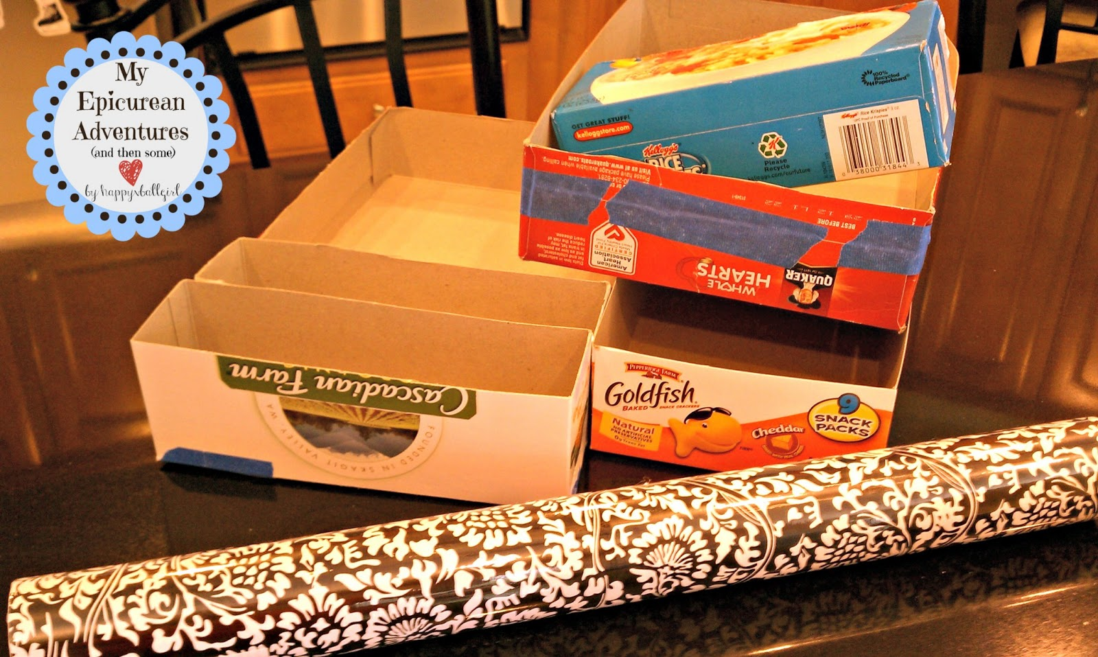 My epicurean adventures do it yourself drawer organizers using diy drawershelf organizers made cheap and easy using contact paper and cereal boxes solutioingenieria Image collections