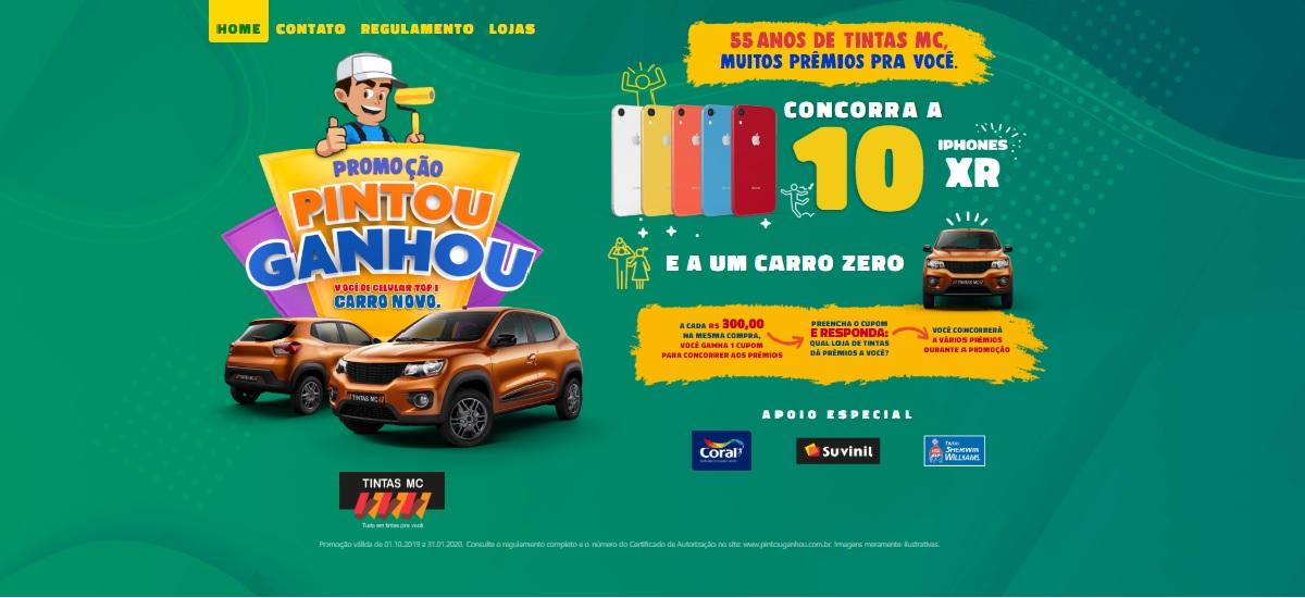 Promoção Tintas MC 2019 Pintou Ganhou - Carro 0KM e 10 iPhones XR