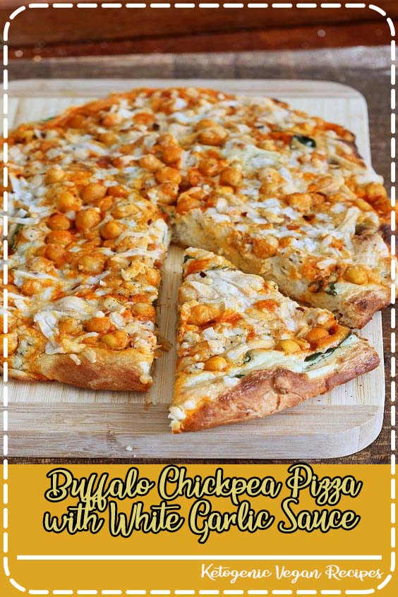 This Vegan Buffalo Chickpea Pizza with White Garlic Sauce and Celery ranch dressing packs  Buffalo Chickpea Pizza with White Garlic Sauce